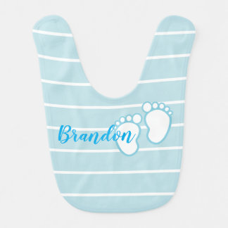Blue Striped footprint Baby feet Personalized Name Bib