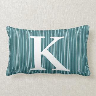 Blue Striped Initial Monogram Lumbar Pillow