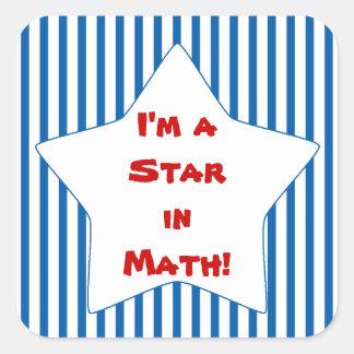 Blue Striped Math Student Star Square Sticker