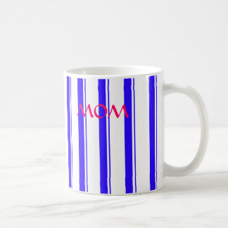 "Blue Striped, ""MOM""  11oz. Mug! Basic White Mug"