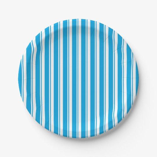 blue striped paper plate 7 inch paper plate