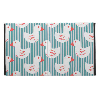 Blue Striped Pattern With White Ducks iPad Cases