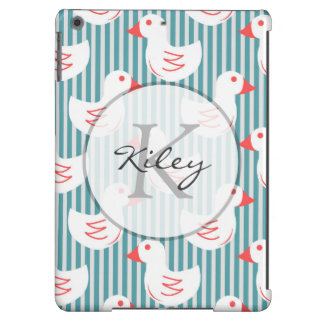 Blue Striped Pattern With White Ducks Case For iPad Air