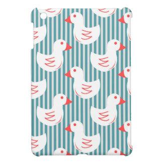 Blue Striped Pattern With White Ducks iPad Mini Case