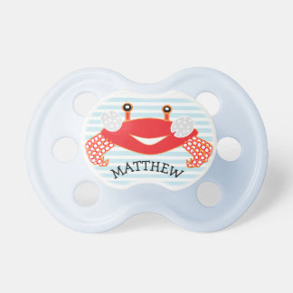 Blue Striped Red Crab Nautical Baby Boy Pacifier