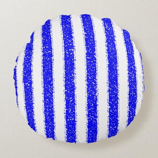 Blue Striped Round Pillow