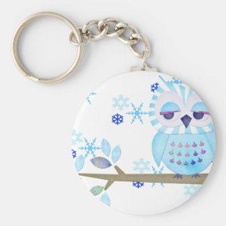 Blue Striped Winter Snow Owl Keychain