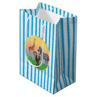 Blue Striped Zoo Animal Bag
