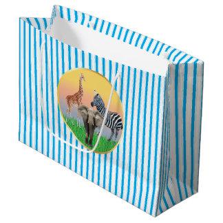 Blue Striped Zoo Animal Large Bag