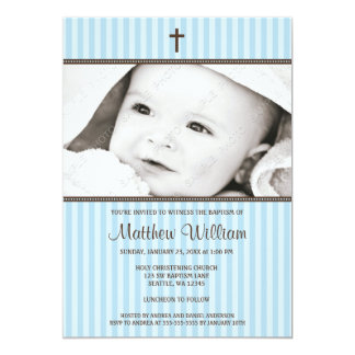 "Blue Stripes and Brown Cross Boy Photo Baptism 5"" X 7"" Invitation Card"