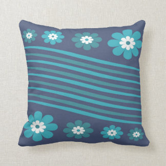 Blue Stripes And Flowers Pillow