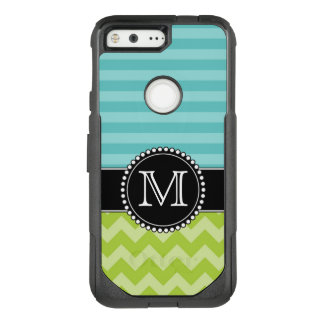 Blue Stripes and Green Chevron, Tough, Monogrammed OtterBox Commuter Google Pixel Case