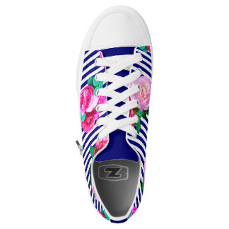 Blue stripes and roses shoes