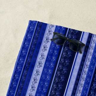 blue stripes & bikes, biking beach towel