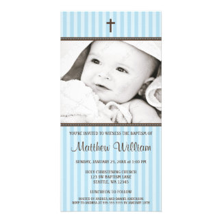 Blue Stripes Brown Cross Boy Baptism Photo Card