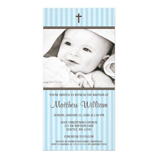 Blue Stripes Brown Cross Boy Baptism Photo Card