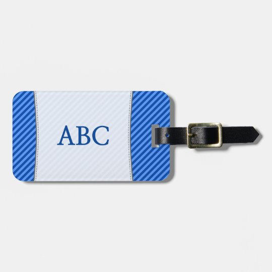 Blue Stripes + Custom 3 Letter Initials Luggage Tag