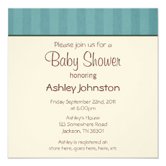Blue Stripes Design  Baby Shower Invitations