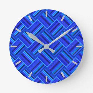 Blue stripes diagonal weave pattern clock