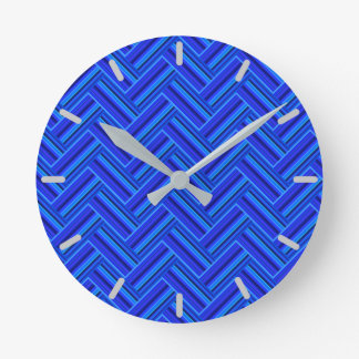 Blue stripes double weave pattern round clock