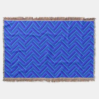 Blue stripes double weave pattern throw blanket