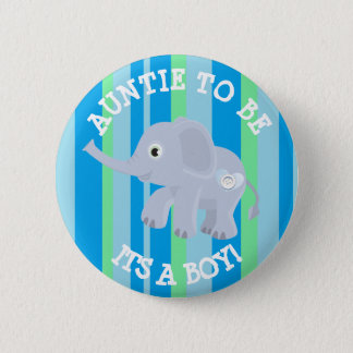 Blue Stripes Elephant Its a Boy  Baby Shower Pin
