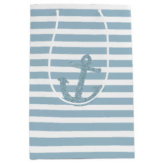 Blue Stripes Faux Glitter Anchor Medium Gift Bag