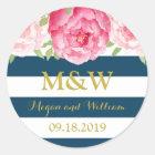 Blue Stripes Floral Monogram Wedding Favour Tag