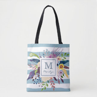 Blue Stripes, Floral Watercolor Painted Monogram Tote Bag