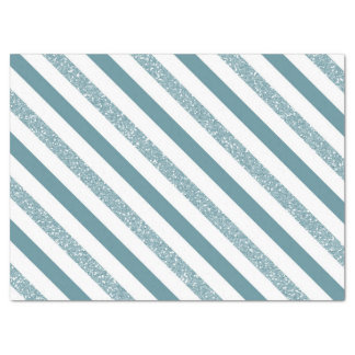 Blue Stripes Glitter Tissue Paper