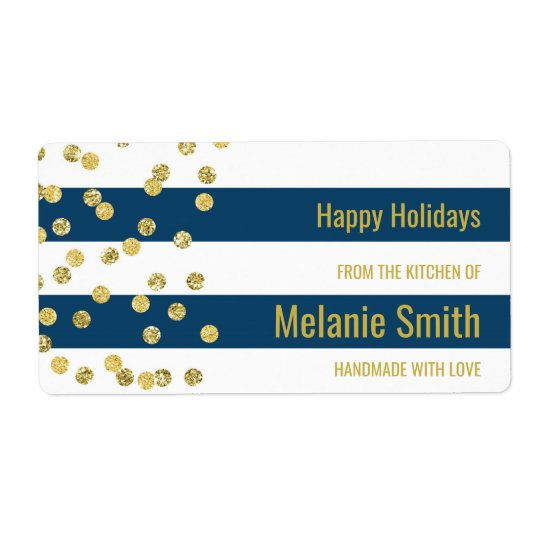 Blue Stripes Gold Confetti Baking Labels