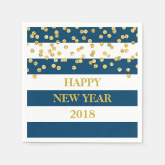Blue Stripes Gold Confetti Happy New Year Napkins Disposable Napkins