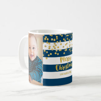 Blue Stripes Gold Confetti Photo Merry Christmas Coffee Mug