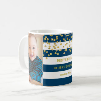 Blue Stripes Gold Photo Best Grandpa Christmas Coffee Mug