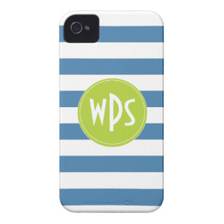 Blue Stripes, Lime Green, Monogram, iPhone 4/4s iPhone 4 Cover