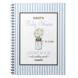 Blue Stripes Mason Jar Baby Shower Guest Book |
