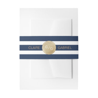 Blue stripes minimalist modern wedding monogram invitation belly band