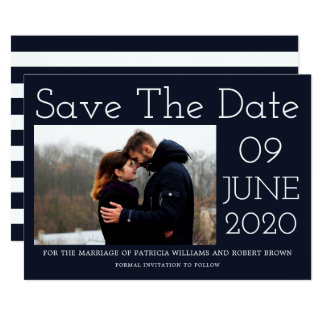 Blue Stripes | Modern Photo Save The Date Card