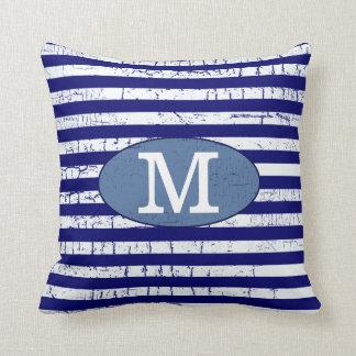 blue stripes monogrammed decor throw pillow