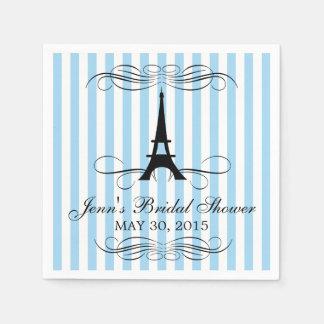 Blue Stripes Paris Eiffel Tower | Bridal Shower Disposable Napkin