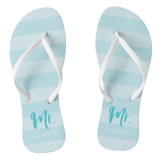 Blue Stripes Personalize with Name Mr Flip Flops