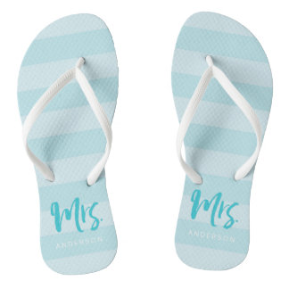 Blue Stripes Personalize with Name Mrs Flip Flops