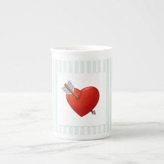 Blue Stripes - Pierced Valentine Heart Tea Cup