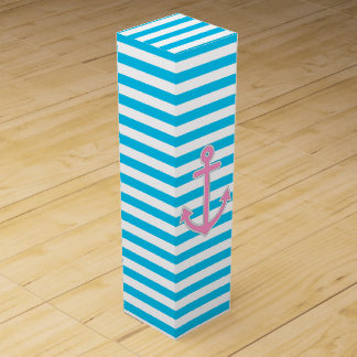 Blue Stripes Pink Anchor Nautical Wine Boxes
