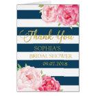 Blue Stripes Pink Floral Bridal Shower Thank You Card