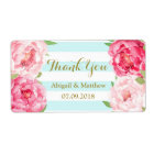 Blue Stripes Pink Watercolor Floral Wedding Labels