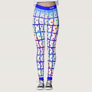 Blue Stripes Rainbow Polkadot on Your own Color Leggings
