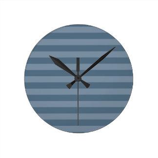 Blue Stripes Round Clock