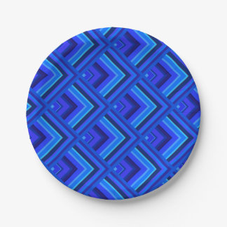 Blue stripes scale pattern 7 inch paper plate