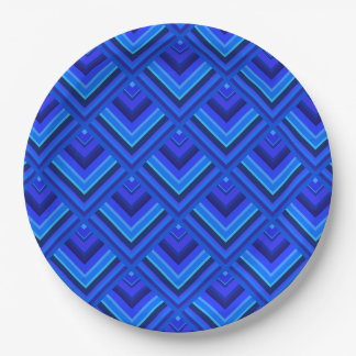 Blue stripes scale pattern 9 inch paper plate